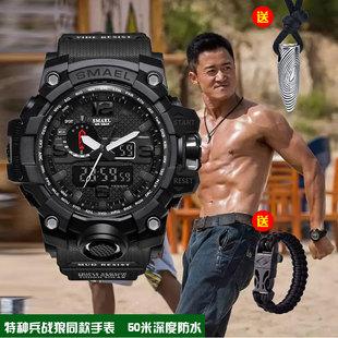 战狼2特种兵夜光多功能防水双显军迷手表运动户外大表盘手表男式