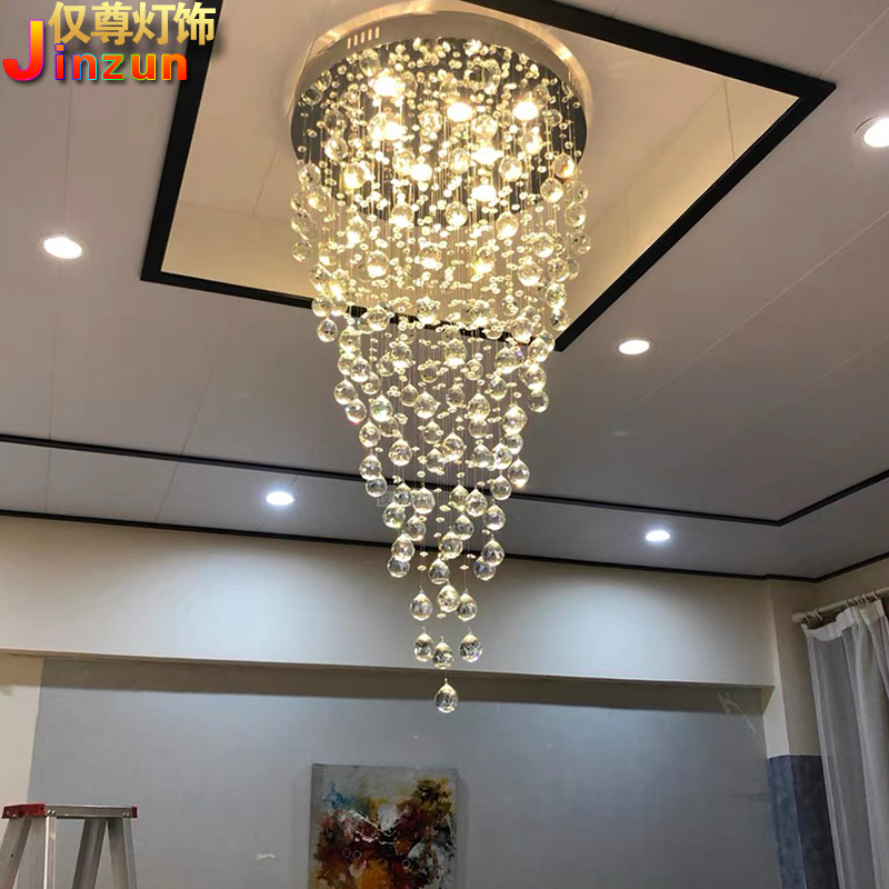 Staircase chandelier creative meteor shower living room large chandelier crystal chandelier circular compound building staircase lamp long Chandelier