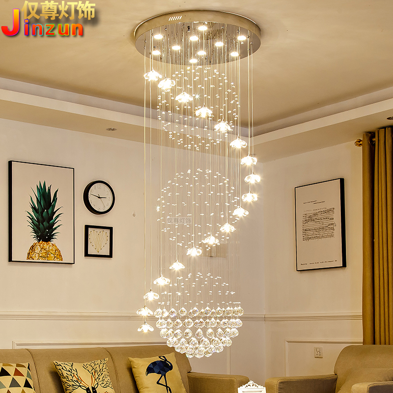 Stair chandelier duplex staircase long chandelier modern European villa mid floor living room Crystal Chandelier