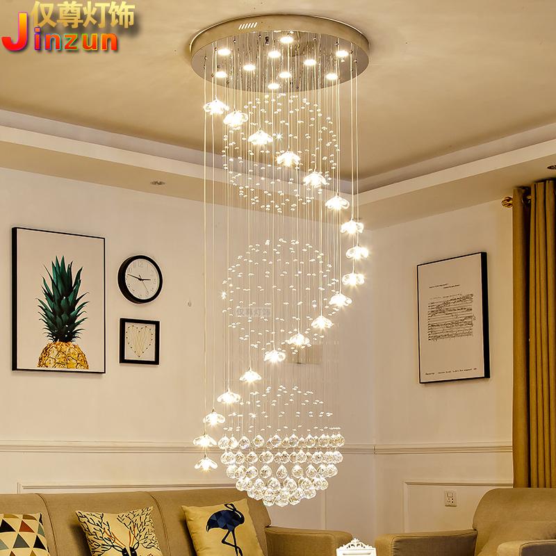 楼梯吊灯复式楼楼梯间长吊灯现代欧式别墅楼中楼客厅水晶大吊灯