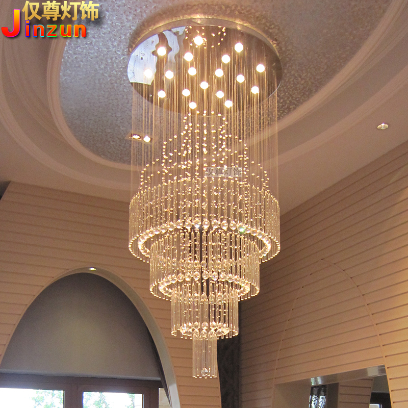 Crystal chandelier living room round villa hall duplex staircase long chandelier mid floor large chandelier European style