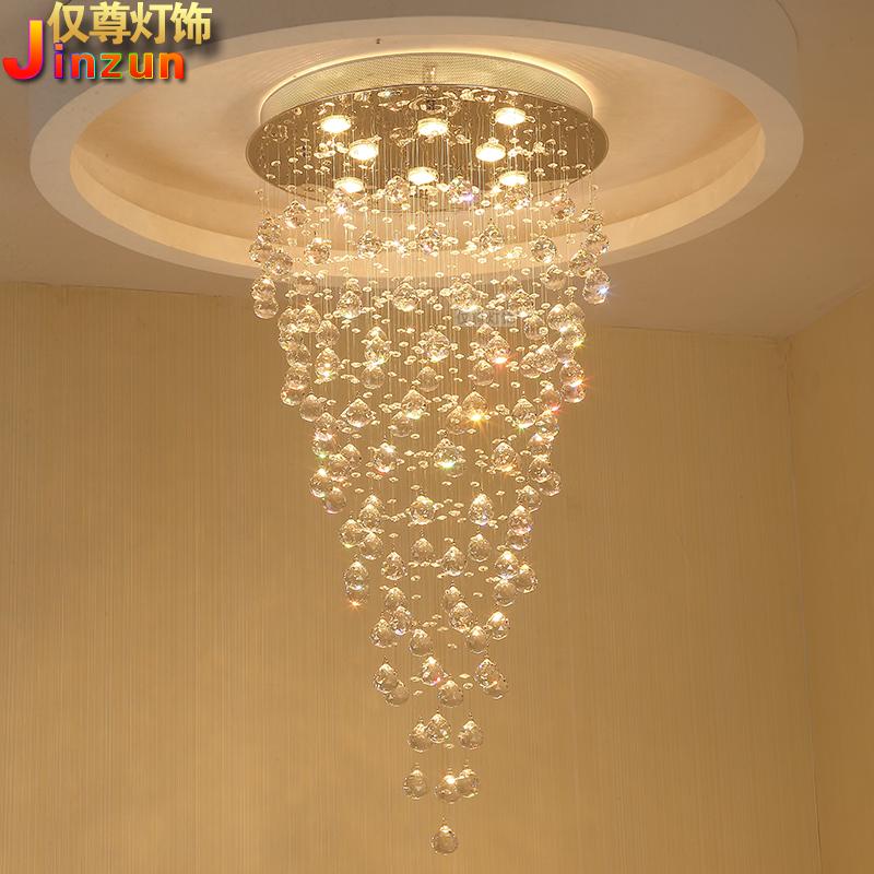 楼梯间吊灯创意流星雨客厅大吊灯水晶吊灯圆形复式楼楼梯灯长吊灯