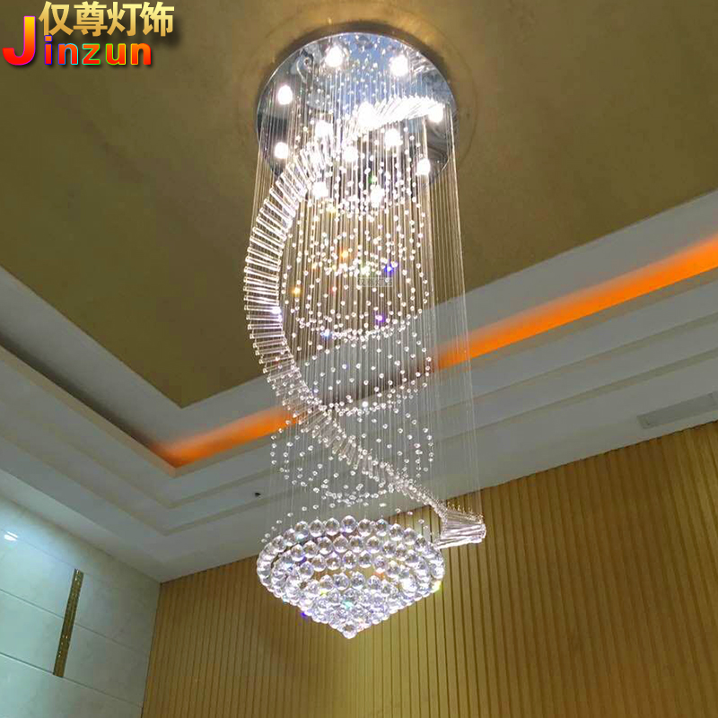 Revolving duplex building crystal chandelier European staircase long chandelier villa middle floor living room large chandelier round