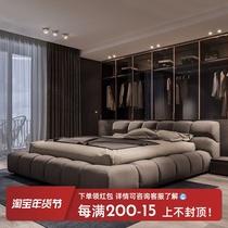 1.8米雙人床北歐簡約現代布藝床主臥小戶型真皮床1.5免洗科技布床