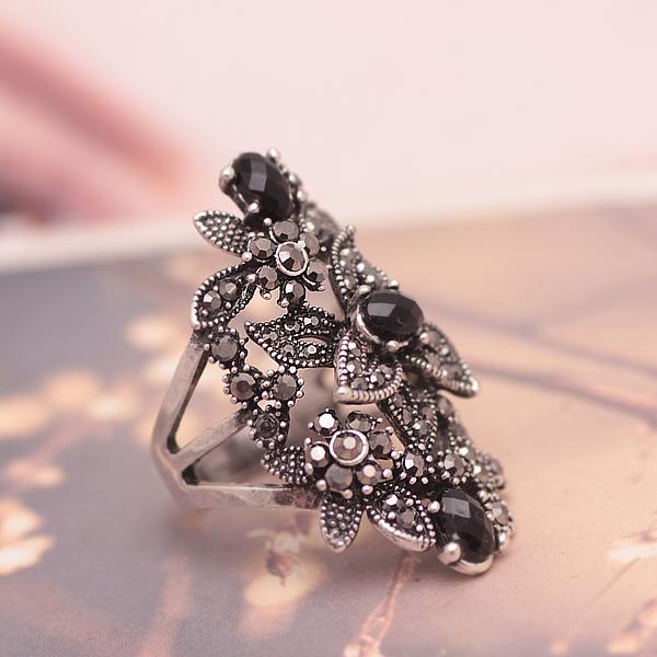 欧美花朵大气复古银镶钻个性食指戒指女中指潮人夸张指环日韩饰品