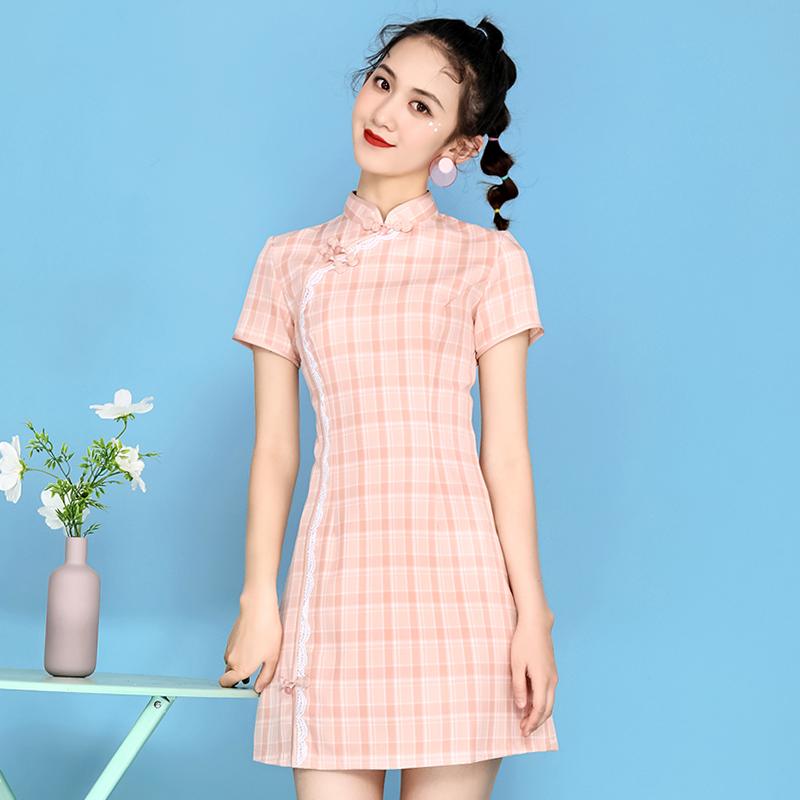 少女旗袍2020新款紧身短款复古学生年轻款小个子改良版日常连衣裙图片