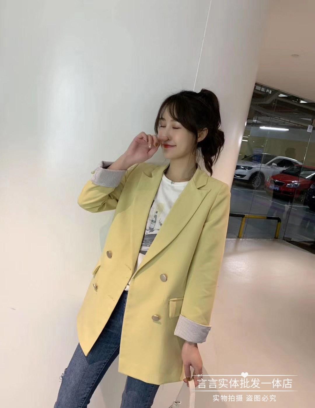 真善美小西装女2020春款韩版时尚显瘦百搭条纹七分袖西服小外套潮