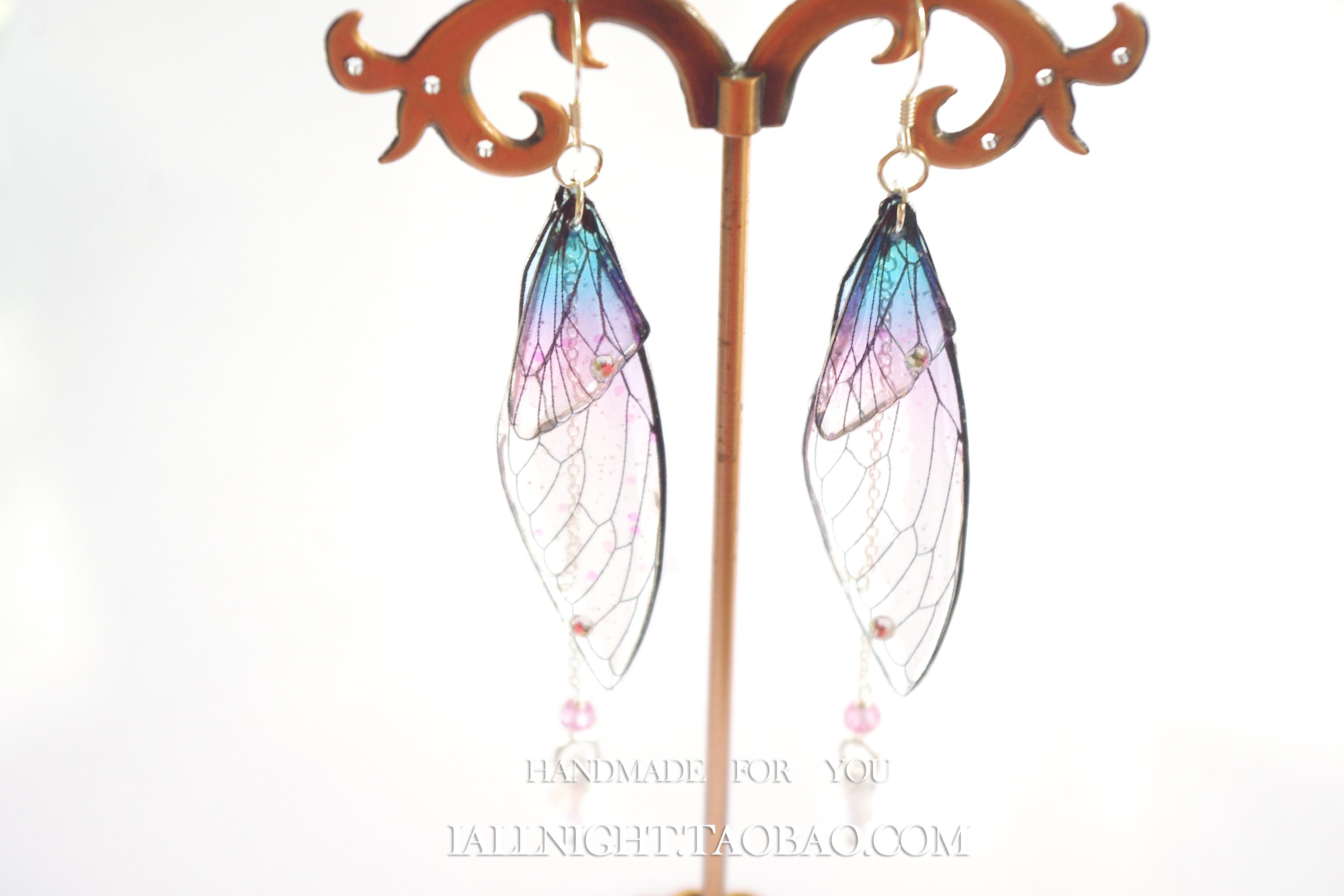 渐变色蝉翼蝴蝶翅膀复古气质超仙纯银耳环/耳夹隐形没耳洞耳环女