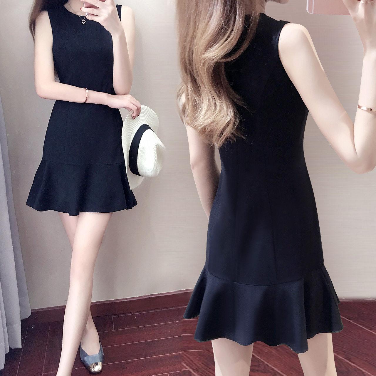 Korean temperament small short skirt black sleeveless dress womens summer high waist slim fishtail skirt spring and autumn bottom skirt