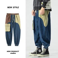 2021春季新款 日系无影墙平蓝1大码拼色束脚牛仔裤M-5X K1066-P55