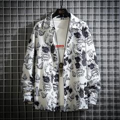 CY666*P45 2021春季日系网格大码衬衣嘻哈ins潮涂鸦印花长袖衬衫