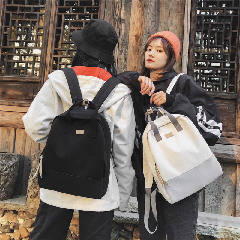 Canvas schoolbag female junior high school students backpack Korean Versatile Campus Literature and art small fresh color contrast Backpack