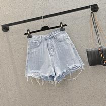 南岛风大码女装胖MM牛仔短裤显瘦毛边亮钻夏装新款胯大腿粗的裤子