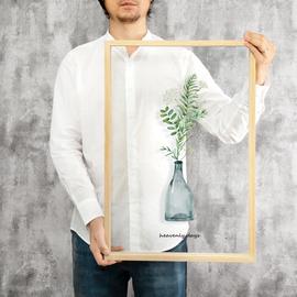起贝 现代简约北欧ins客厅静物透明装饰画花瓶绿植小清新挂画壁画