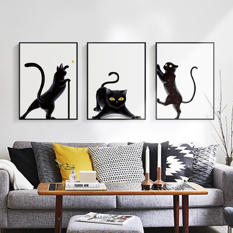Милый кот. микрофон картины нордический декоративный живопись спальня магазин фреска современный простой теплый животное гостиная живопись обрамленный