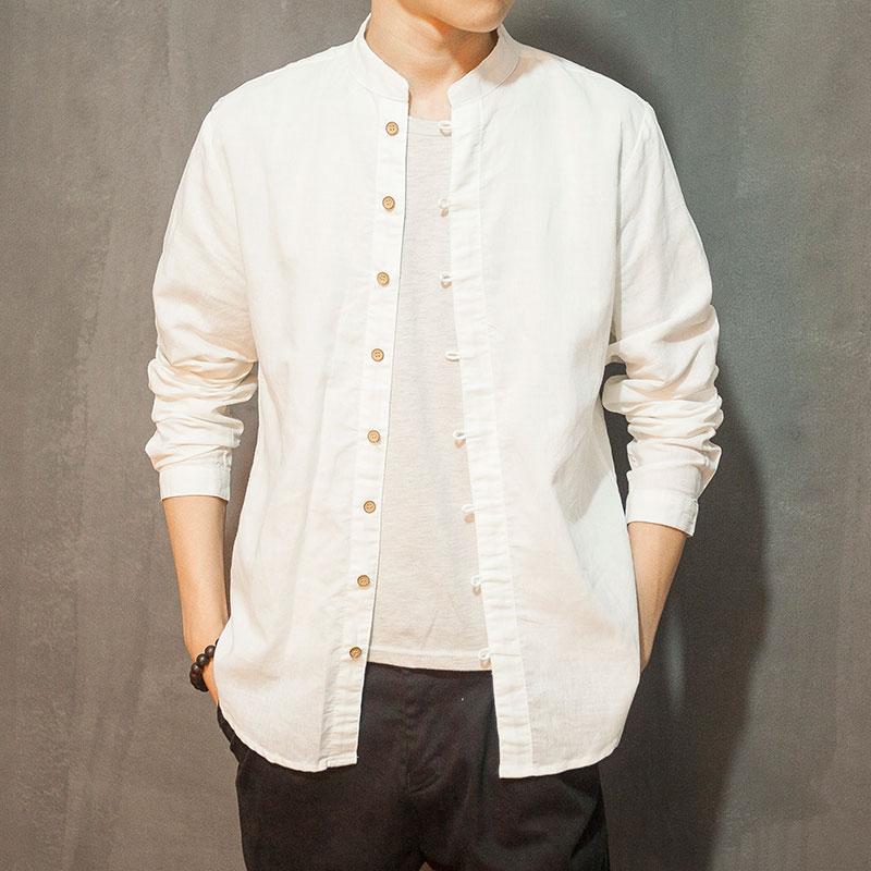 C28^亚麻衬衫男长袖夏季薄款棉麻男士立领寸衫纯色宽松麻料衬衣
