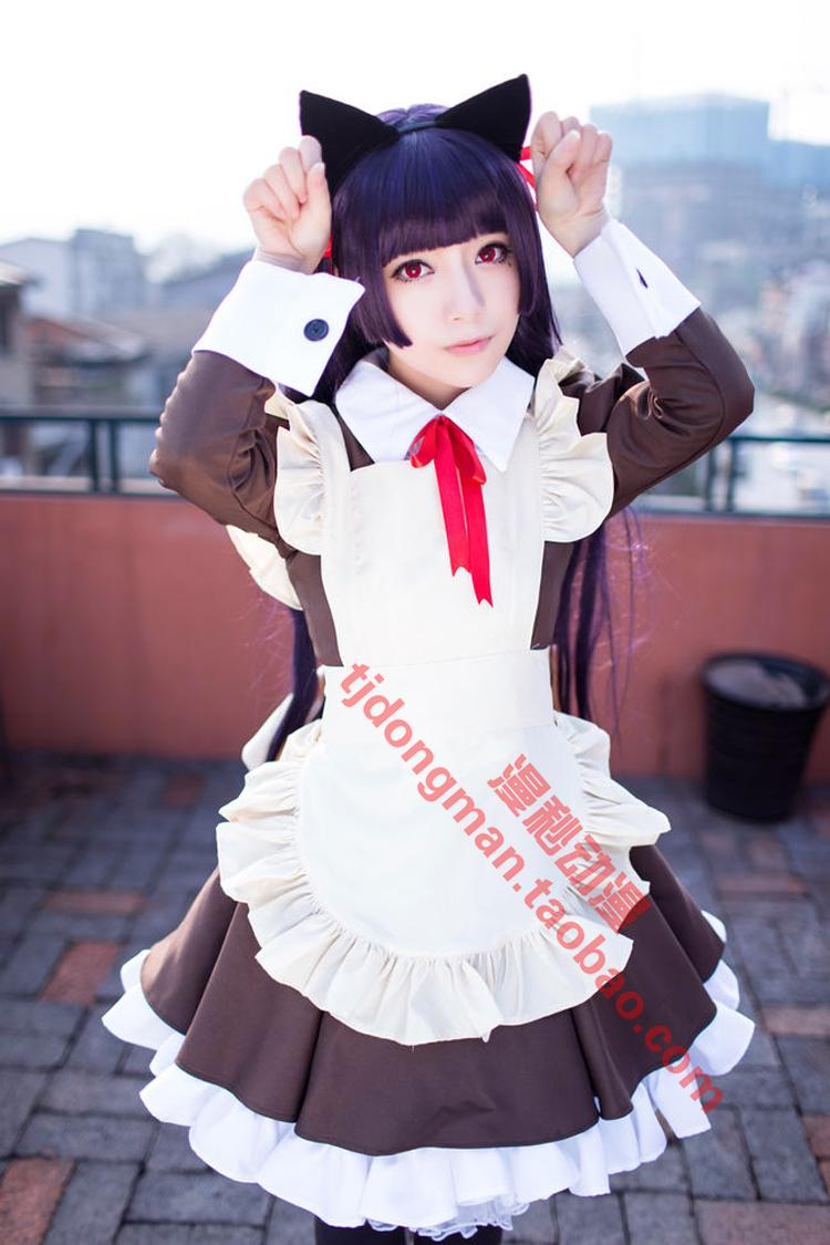 How can my sister have such a lovely five watch glass Maid Dress Cosplay custom clothing wig custom made
