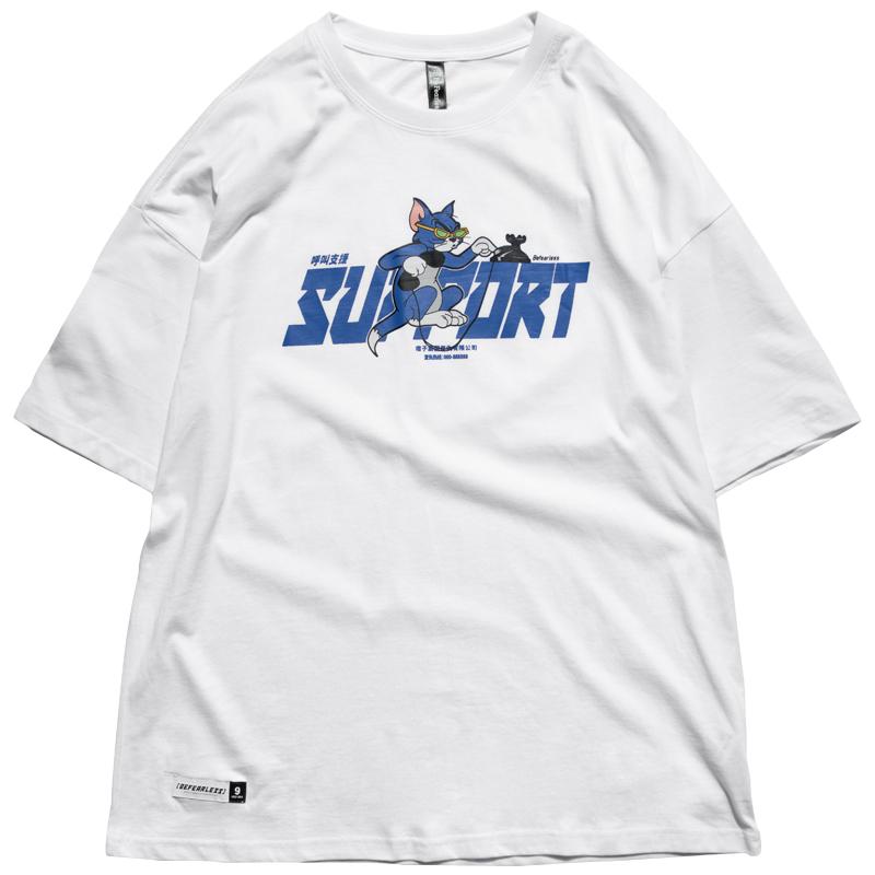 九捆 日系潮牌宽松版趣味卡通汤姆猫印花情侣休闲圆领短袖T恤男女