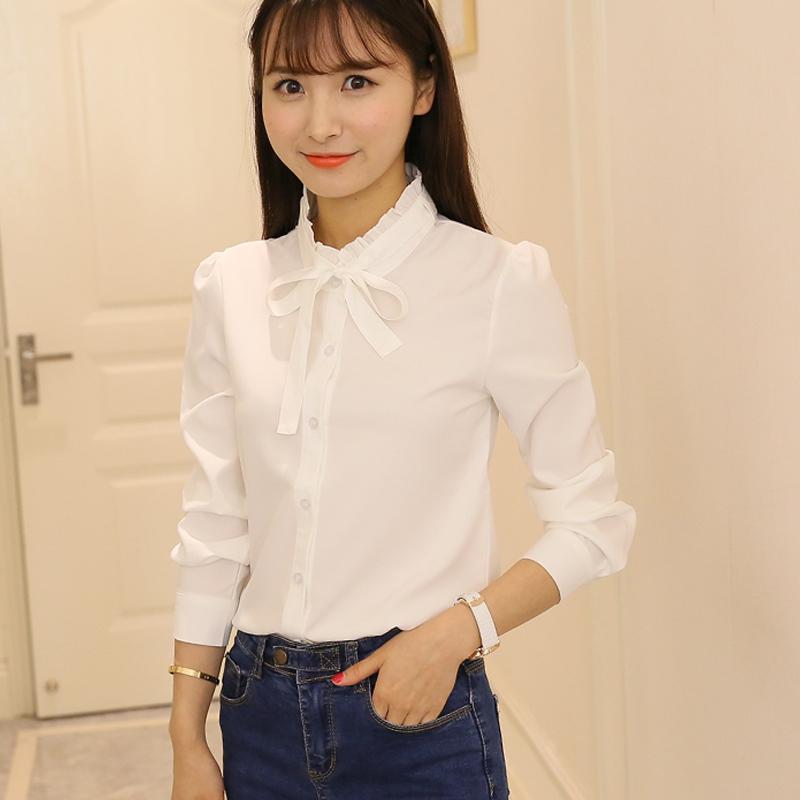 2020春装新款韩范白衬衫女长袖休闲宽松百搭雪纺衬衣职业装打底衫
