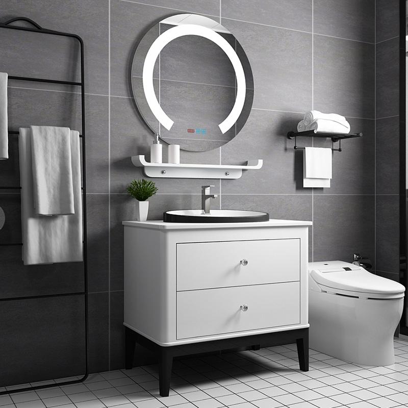 现代智能PVC浴室柜实木橡木卫生间洗脸盆洗手盆落地洗漱台小户型热销9件有赠品