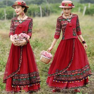 中国风民族风两件套女装春秋季新款t恤上衣+网纱流苏半身裙套装