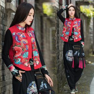 2021春季新款杨丽萍民族风女装重工刺绣花马夹复古立领麻马甲外套