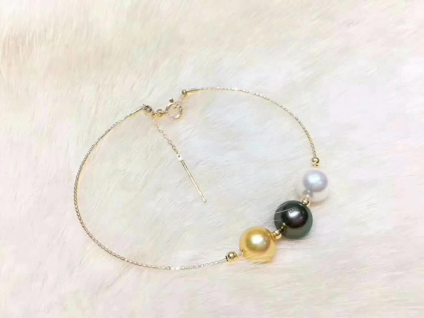 Custom made Nanyang gold pearl bracelet women 18K Gold elastic 9-10mm round almost no time to adjust