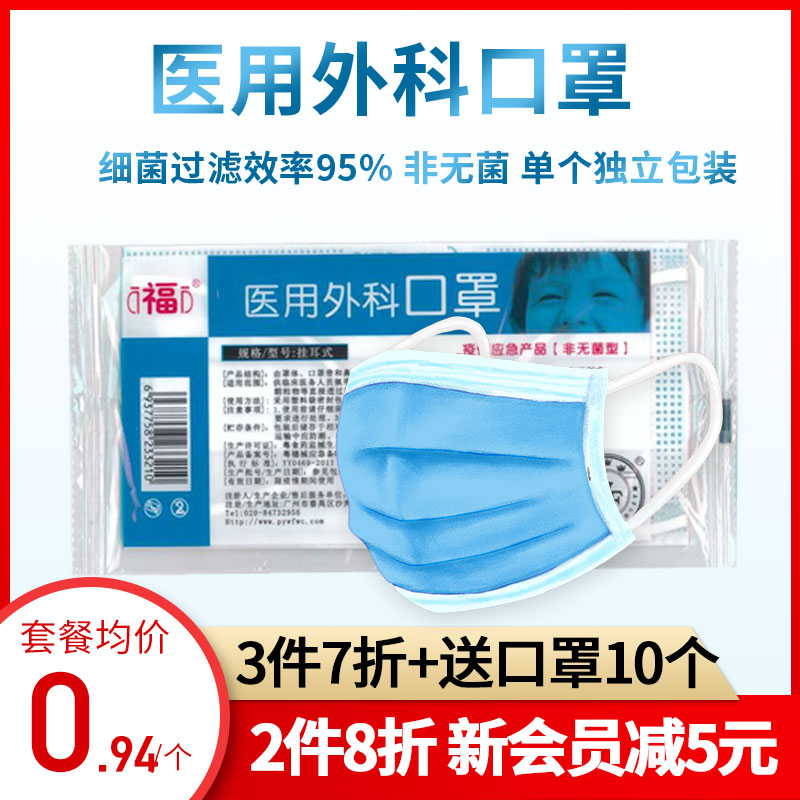 Wanfu disposable medical surgical mask with three layers of meltblown cloth for dust and air permeability