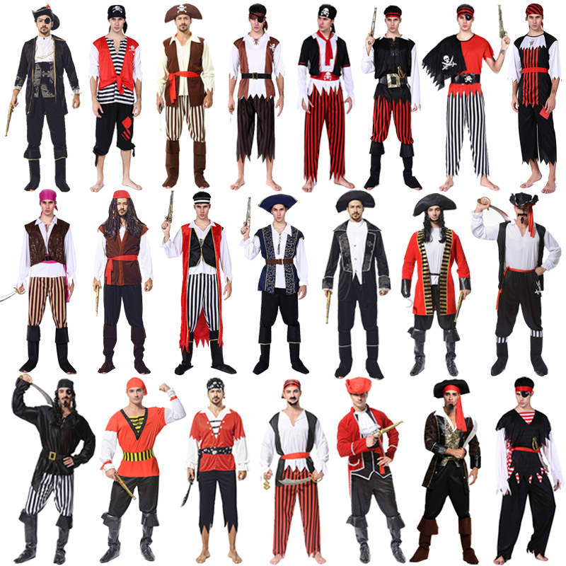 Adult Pirate Costume Cosplay Caribbean Pirate Costume Jack mens dress ball party