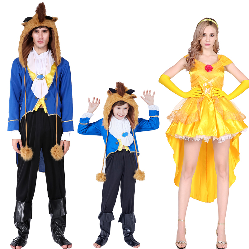 Halloween beauty and beast costume cos costume ball beast Prince BELLE PRINCESS DRESS couple parent child dress