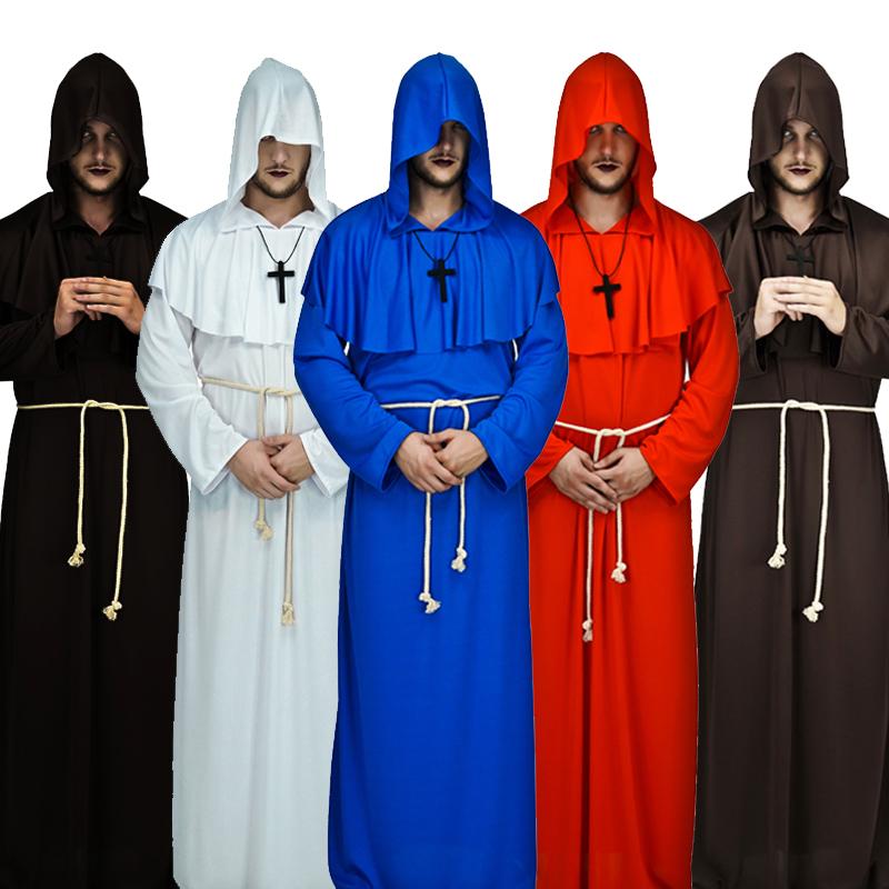 万圣节服装成人中世纪修士袍巫师服牧师服基督徒教堂神父COS衣服