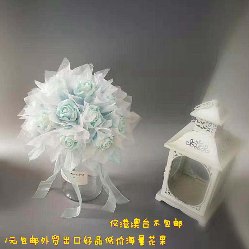 1 yuan parcel post export with gauze light green blue PE rosette artificial simulation decorative false flower indoor window