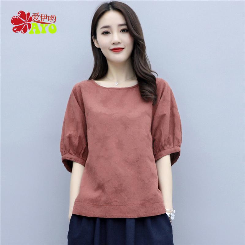 亚麻棉麻上衣女短袖t恤夏装2020新款韩版宽松灯笼袖麻料半袖小衫