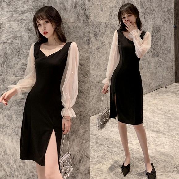 大碼女裝網紅秋季新款法式桔梗裙胖妹妹mm網紗拼接高腰顯瘦小黑裙