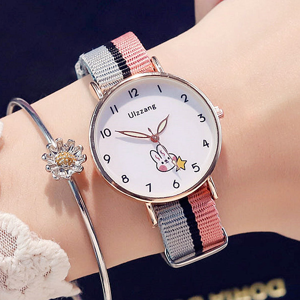 Examination watch female primary school junior high school student table Korean version simple lovely canvas strap leisure college style
