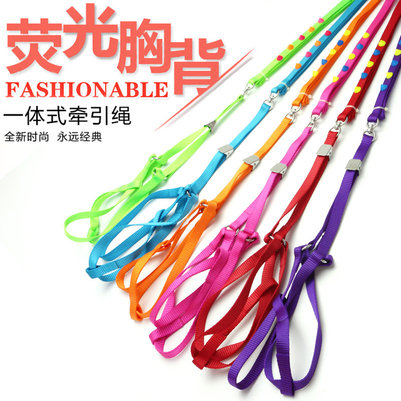 Dog chest strap traction rope colorful nylon rivet pet chest strap traction rope set Teddy traction rope
