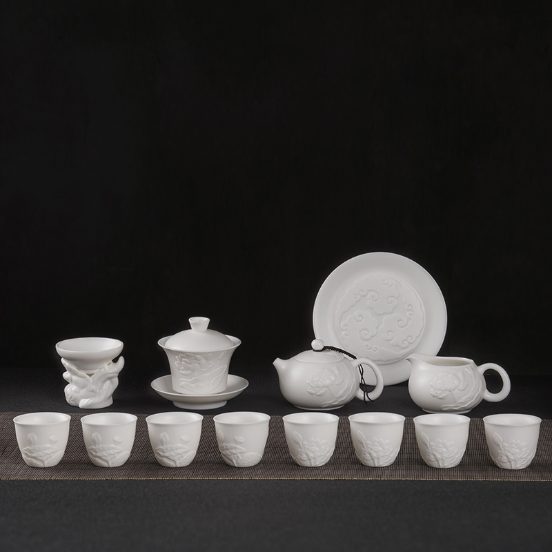 Yangzhi jade porcelain tea set, white porcelain relief, tea making, Xishi pot, pure handwork, household high-grade Kungfu cup
