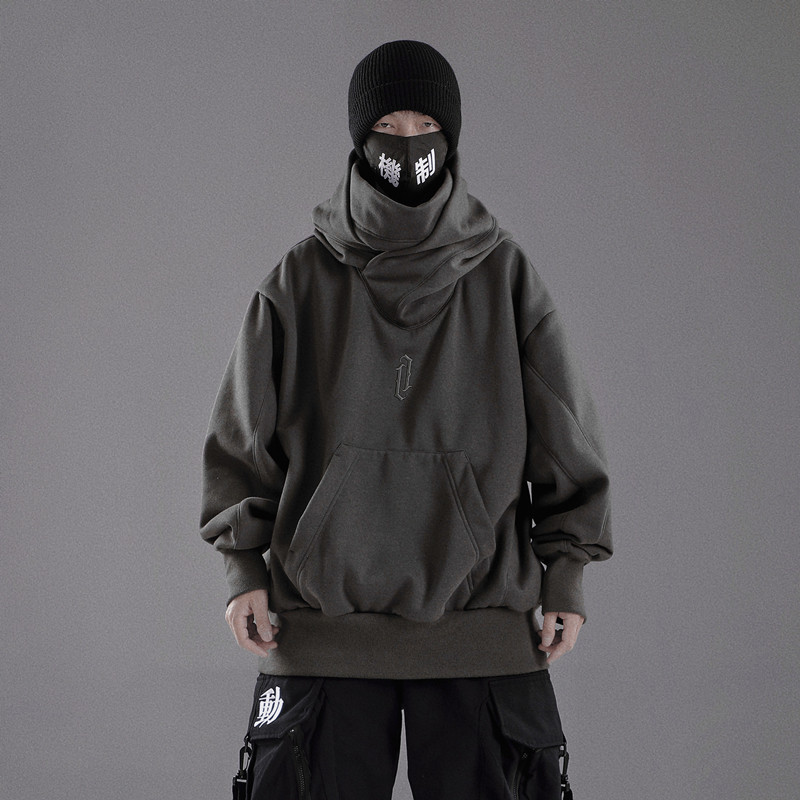 New 2021 tide brand heavy industry autumn and winter hooded high collar sweater mens loose couple Guochao long sleeved Hoodie regular pure