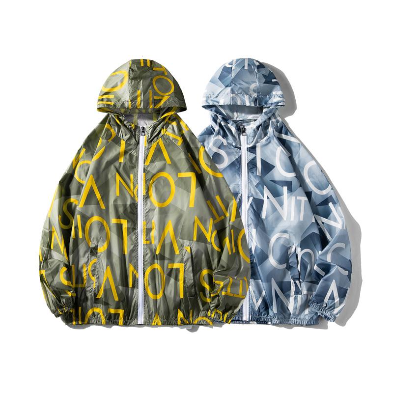 情侣装印花夹克男女夏季超薄款透气冰丝防晒衣服外套2FS6023-P25