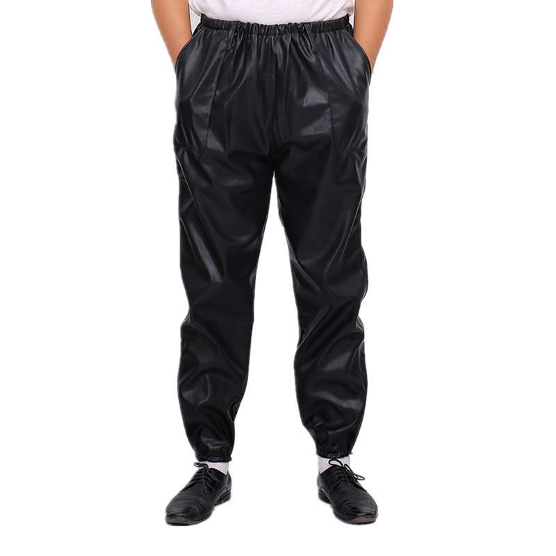 Spring 2018 mens leather pants middle aged and elderly leisure loose waterproof oil proof Pu locomotive wear resistant windproof overalls pants