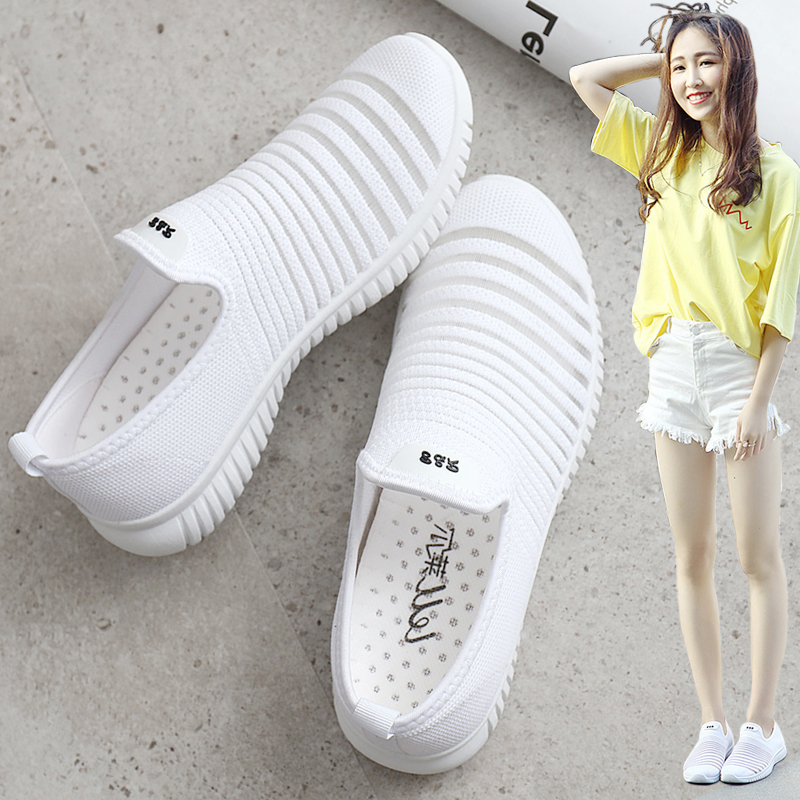 Summer comfortable net shoes womens work shoes one foot womens shoes soft soles non slip womens cloth shoes breathable net top pregnant womens shoes