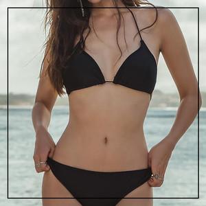 2019新款韩国女性感黑色比基尼三点式分体泳衣系带小胸聚拢无钢圈