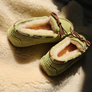 秋冬羊毛豆豆鞋女加绒棉鞋真皮平底懒人鞋保暖孕妇妈妈鞋社会鞋子