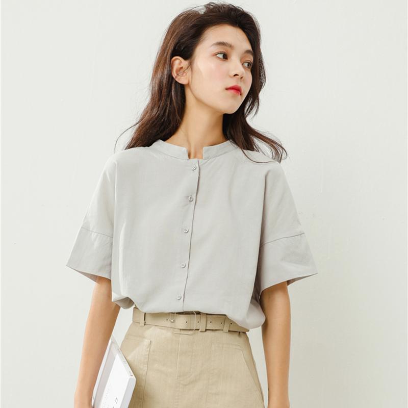 立领半袖衬衫女2018夏装新款韩版复古宽松百搭学生短袖chic上衣