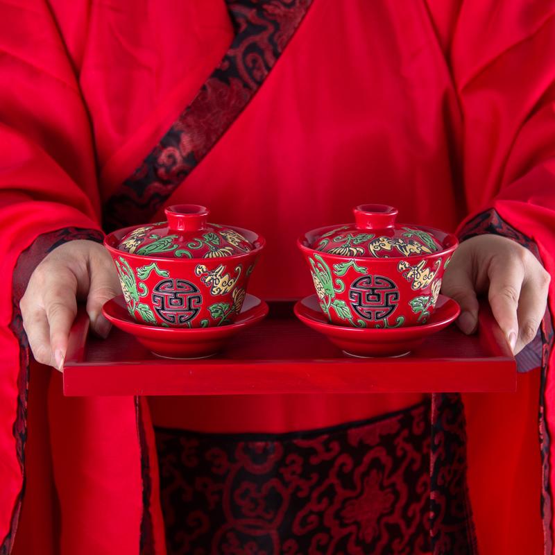 中式风红色结婚茶具套装三才盖碗茶备长辈父母敬茶杯婚庆礼物嫁妆(非品牌)