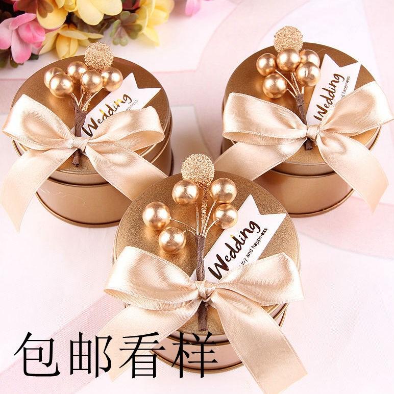 (用3.46元券)结婚马口铁盒个性圆形金色喜糖盒子