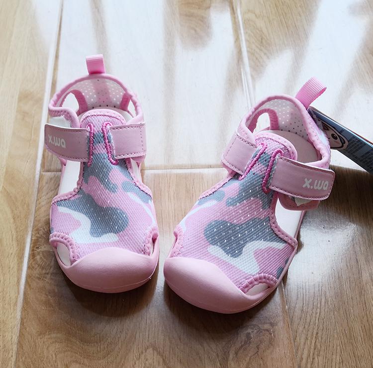 Genuine special price snow doll summer new female baby anti-skid mesh sandals girls ox tendon bottom Baotou sandals