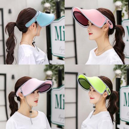 夏季防紫外线遮阳帽女双层空顶遮脸太阳帽户外运动帽子防晒帽大檐