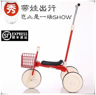 二代无印儿童三轮车超轻便携1 4岁宝宝脚踏自行车遛娃简易手推车