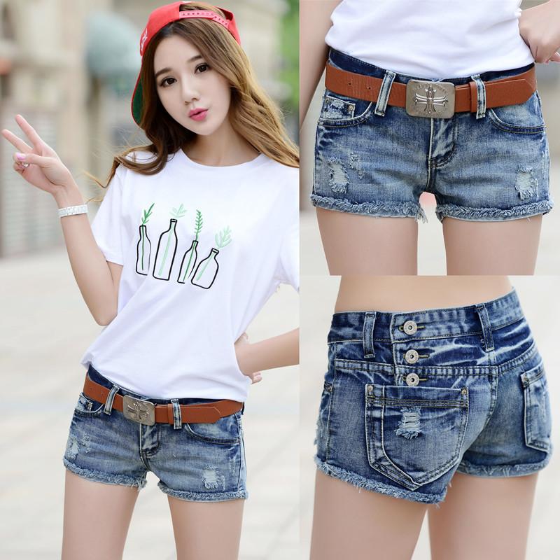 牛仔短裤女夏2020新款韩版大码百搭外穿显瘦破洞性感超低腰热裤子